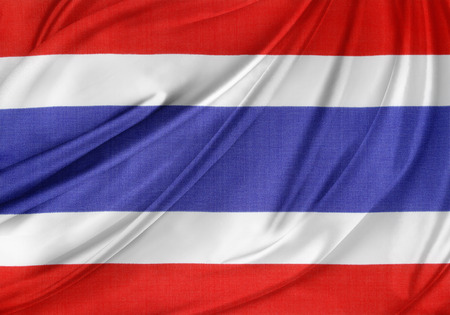 Closeup of silky Thailand flag photo