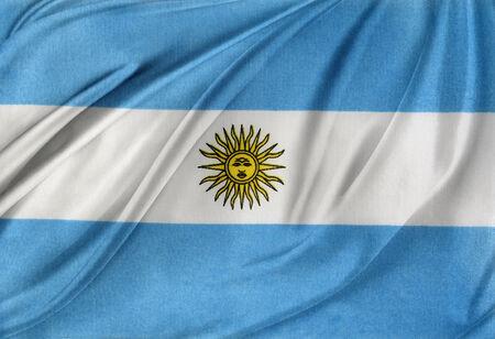 argentinian flag: Closeup of silky Argentinian flag