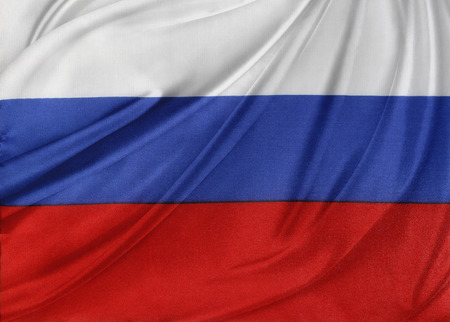 Closeup of silky Russian flag photo