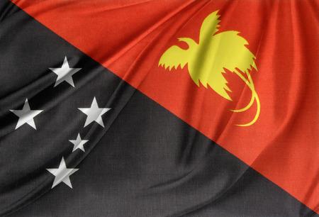 papua: Closeup of silky Papua New Guinea flag