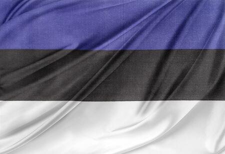 Closeup of silky Estonian flag photo