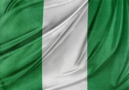nigerian: Closeup of silky Nigerian flag Stock Photo