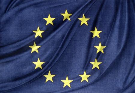 絹のようなヨーロッパ、欧州連合の旗のクローズ アップ