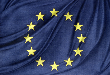 Closeup of silky Europa, European Union flag Imagens