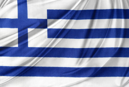 greece flag: Closeup of silky Greek flag Stock Photo