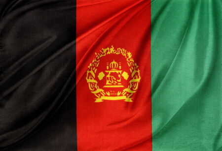 afghanistan flag: Closeup of silky Afghanistan flag
