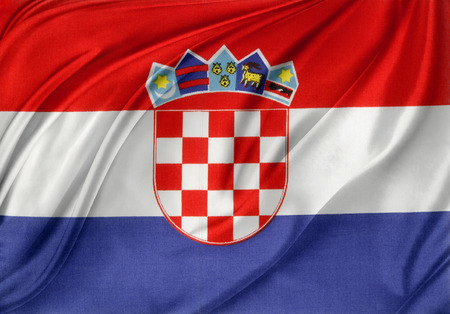Closeup of silky Croatian flag photo