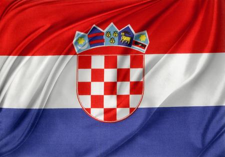 bandera de croacia: Primer plano de la bandera croata sedoso Foto de archivo