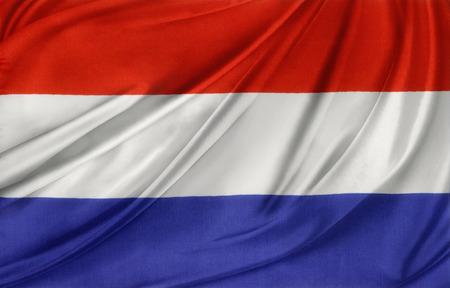 Closeup of silky Netherlands flag photo