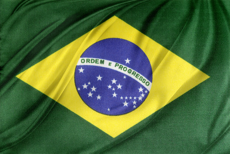 Closeup of silky Brazilian flag photo