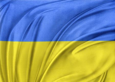 Closeup of silky Ukrainian flag photo