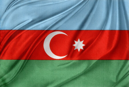 azerbaijan: Closeup of silky Azerbaijan flag