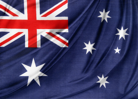 Closeup of silky Australian flag