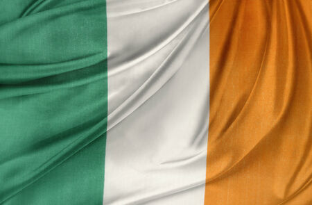 irish symbols: Closeup of silky Irish flag