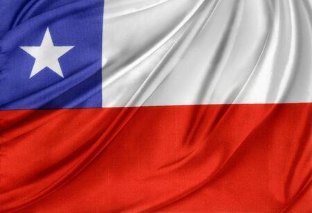 bandera chilena: Primer plano de la bandera chilena sedoso Foto de archivo