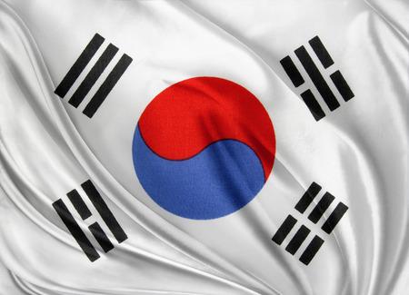Closeup of silky South Korean flag Stock Photo