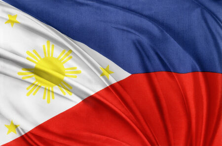 Closeup of silky Philippines flag photo