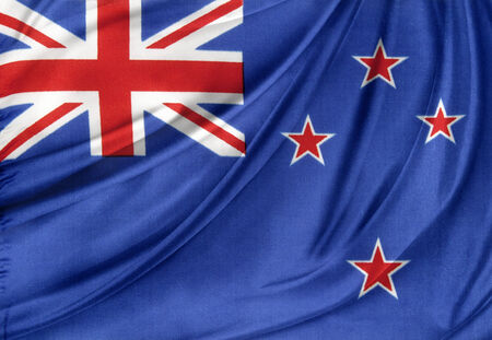 Closeup of silky New Zealand flag photo