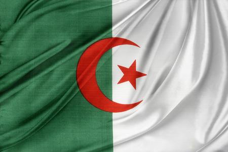 algerian flag: Closeup of silky Algerian flag