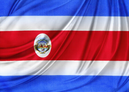 costa rican flag: Closeup of silky Costa Rican flag