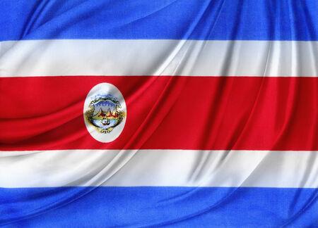 bandera de costa rica: Primer plano de la seda de la bandera de Costa Rica