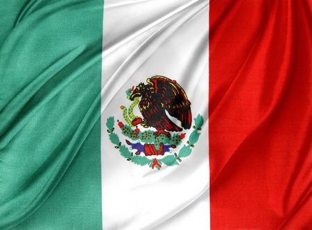 bandera de mexico: Primer plano de la bandera mexicana y sedoso