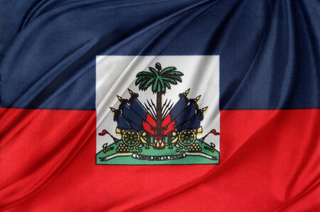 haitian: Closeup of silky Haitian flag Stock Photo