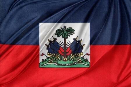 haitian: Closeup of silky Haitian flag Stock Photo