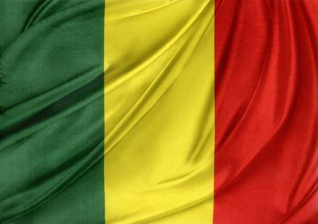 Closeup of silky Mali flag photo