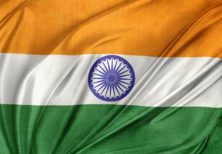 india green: Closeup of silky Indian flag Stock Photo
