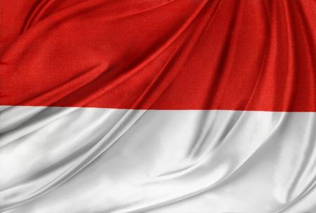 Closeup of silky Indonesian flag photo