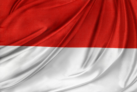 indonesian: Closeup of silky Indonesian flag Stock Photo