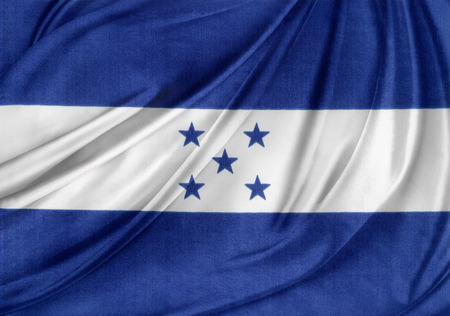 bandera honduras: Primer plano de la bandera de Honduras sedoso
