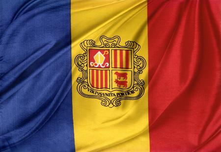 Closeup of silky Andorra flag photo