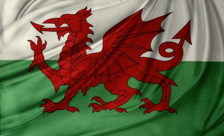 welsh flag: Closeup of silky Welsh flag