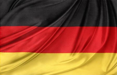 Nahaufnahme von seidig deutscher Flagge Standard-Bild