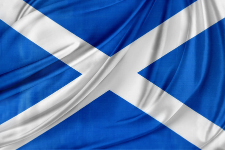 scottish flag: Primo piano di seta bandiera scozzese