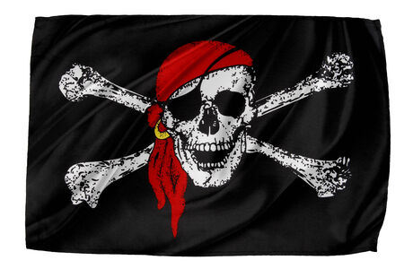 roger: Closeup of silky Pirate flag Stock Photo