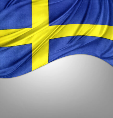 sweden flag: Silky Swedish flag on grey background