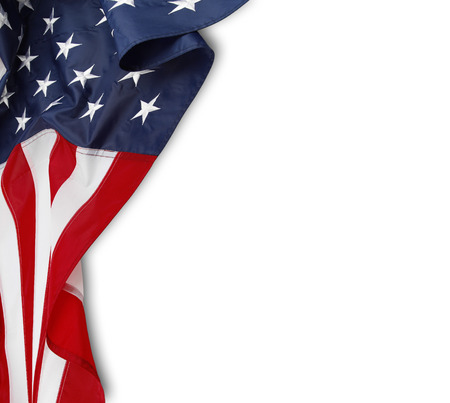 american states: Closeup of rippled American flag on white background Stock Photo