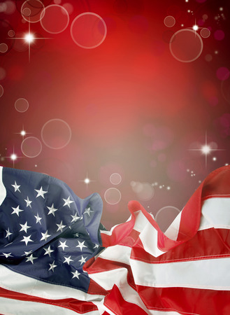 American flag in front of red background photo