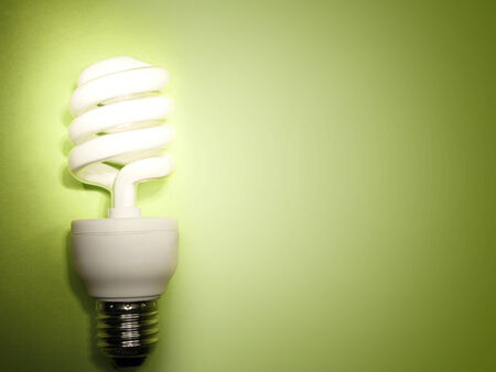 energy efficient: Power saving light bulb on green