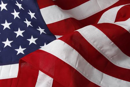 Closeup of ruffled cotton American flag 版權商用圖片