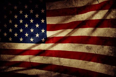 Closeup of grunge American flag photo
