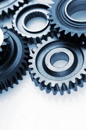 Closeup of metal cog gears photo