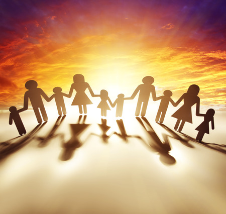 bright future: Family united together holding hands