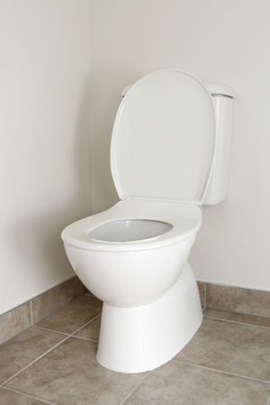 lav: White toilet in bathroom, lid open  Stock Photo