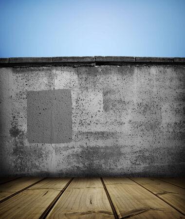 floorboards: Suelos de madera y pared de piedra
