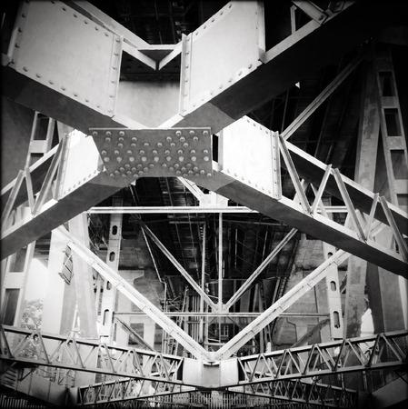 steelwork: Steel girders support underneath bridge Stock Photo