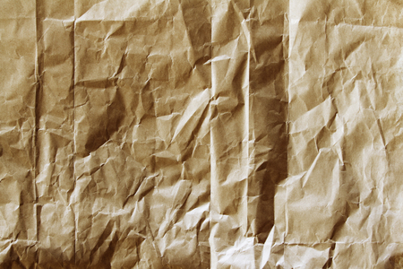 wrinkled paper: Closeup of brown wrinkled paper texture background